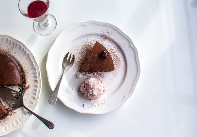 chocolate nut torte with sour cherry meringue ice cream recipe