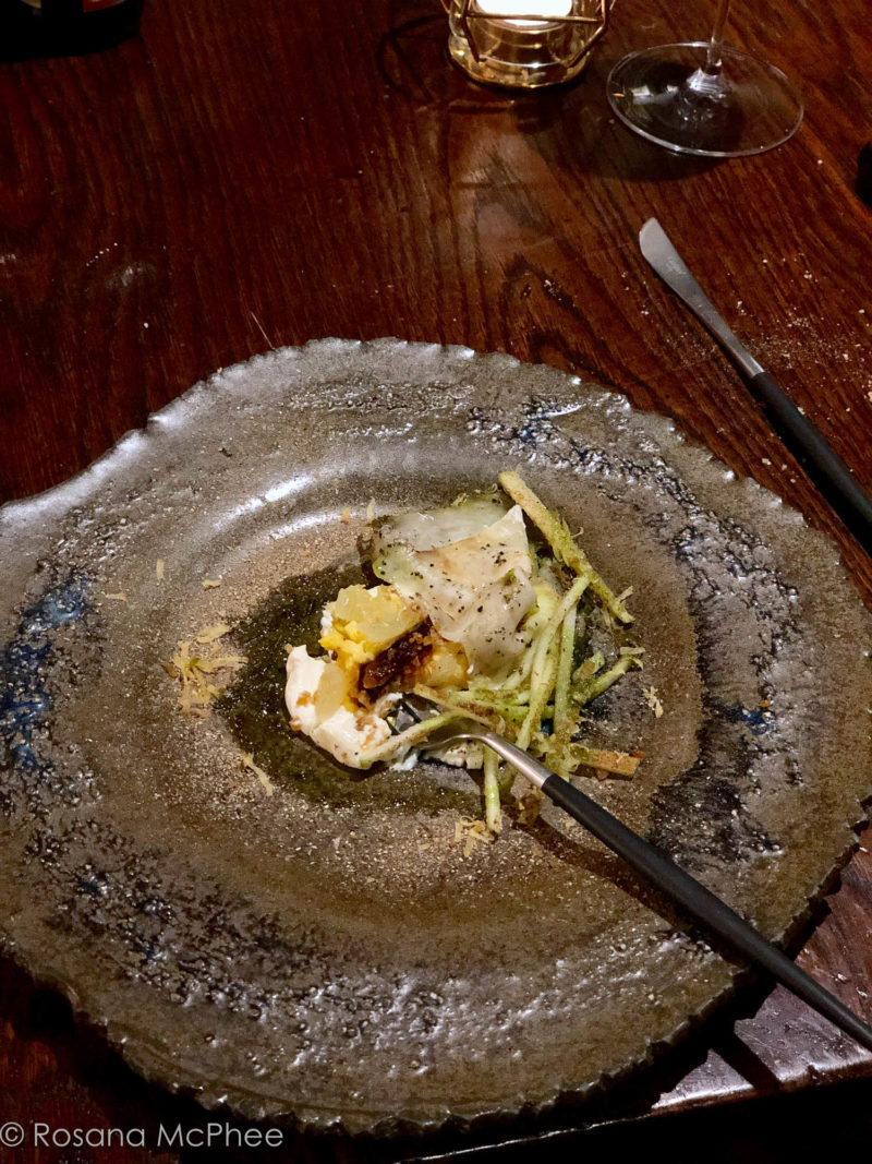 Baked celeriac, soy-cured egg, apple, truffle, naturally brewed soy sauce