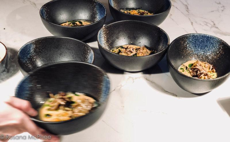 Ravioli of mushrooms, teriyaki broth, Parmesan and frozen foie gras